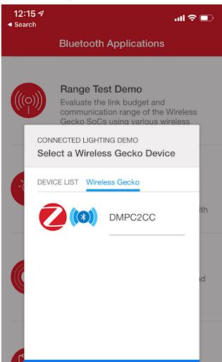 Connected Lighting Demo screen